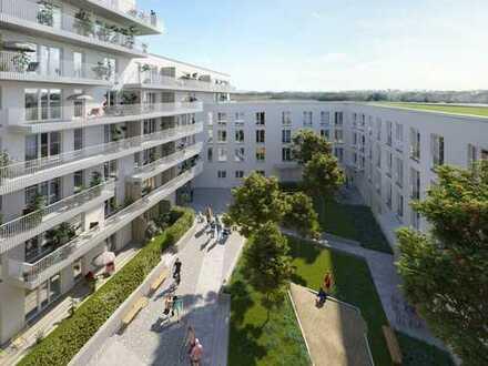Stilvoll wohnen in 2-Zimmer-Wohnung mit offenem Kochbereich und Balkon in grüner Umgebung