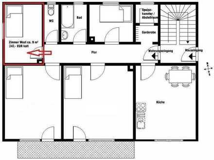 Zimmer in 4er WG (1 Zimmer mit 9m² - Pauschalmiete 300€)