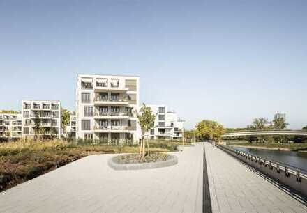 WOHNEN AN DER HAFENPROMENADE: Zuhause mit riesiger Gartenterrasse am Rheinkilometer423.