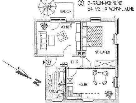 Schöne 2-Zimmer-Wohnung mit Balkon.