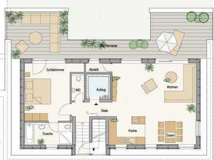 Kleines Neubau-Penthouse mit großzügiger Dachterrasse mitten im Grünen