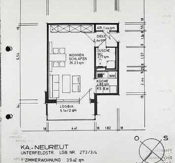 PROVISIONSFREI, vollmöblierte, geräumige und gepflegte 1-Zi-Wohnung mit Balkon und EBK in Karlsruhe