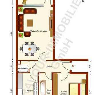 BRAVOUR-IMMOBILIEN: Freundliche 2 Zimmer Wohnung, großer Balkon mit Blick ins Grün + auf Fernsehturm