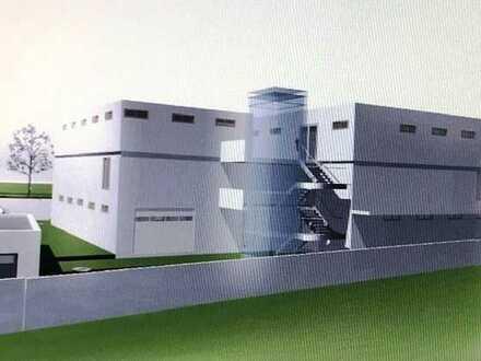 Neubau-Industriehalle mit Büros und Wohnungen von 240 bis 1.100 m² in guter Lage von Überlingen.