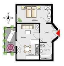Zentrumsnahe gepflegte 2-Zimmer-Wohnung mit Balkon und EBK in Kempten