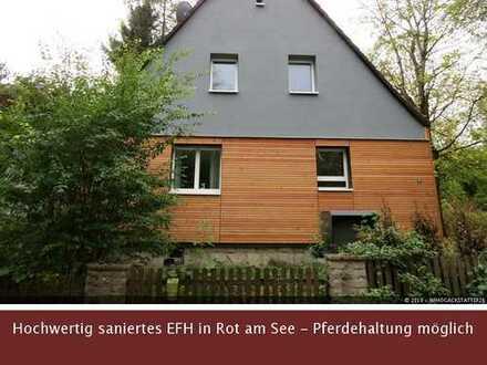 Traum für Pferdehalter - Saniertes Einfamilienhaus in idyllischer Lage in Rot am See