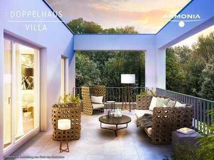 Exklusive Doppelhaus-Villa mit herrlicher Dachterrasse in grüner Lage