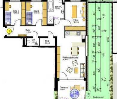 KAPITALANLAGE Neubau 4,5 Zimmer Wohnung im EG mit Garten