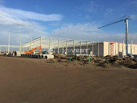 Projektierter Neubau einer Lagerhalle direkt an der A4
