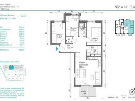 NEUBAU! Schöne 4 Zimmer-Wohnung (NBZ 7.11) mit Balkon zum begrünten Innenhof