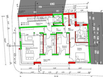 Neubauwohnung Bruchsal Innenstadt mit 4 Zimmern und Balkon