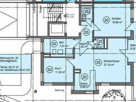 Erstbezug: exklusive 3-Zimmer-Etagen-Wohnung (Aufzug) mit EBK und Balkon in Mönsheim