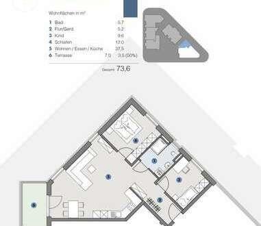 1. OG; Gemütliche Wohnung mit Aussicht - T5 Wohnareal - fortschrittlich, nachhaltig, innovativ