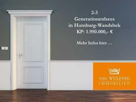 2-3 Generationenhaus in gesuchter, ruhiger Lage von Hamburg-Wandsbek...