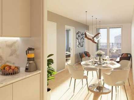 Hoch oben mit Blick auf den Osthafen. Optimal geschnittene 2-Zimmer-Wohnung mit Süd-Loggia