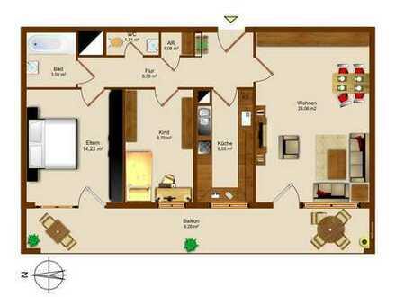 Optimal liegende - einfache 3-Zimmer-Wohnung in Augsburg (2er/3er WG geeignet) - Uni/Zentrum Nähe