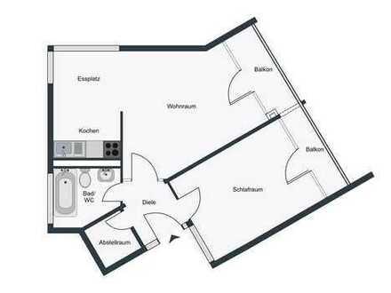 Zweizimmerwohnung mit Balkon und Einbauküche