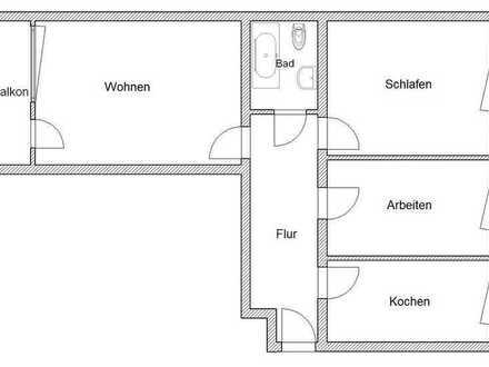Erstbezug nach Sanierung! 3 Zi., Küche, Bad, Balkon, 899 € warm! Ideal für Paar od. Paar mit 1 Kind!