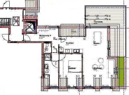 Neuwertige Dachgeschosswohnung mit zweieinhalb Zimmern sowie Balkon und Einbauküche in Flein