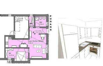 Neuwertige 2,5-Zimmer-Wohnung mit Einbauküche in Hallstadt