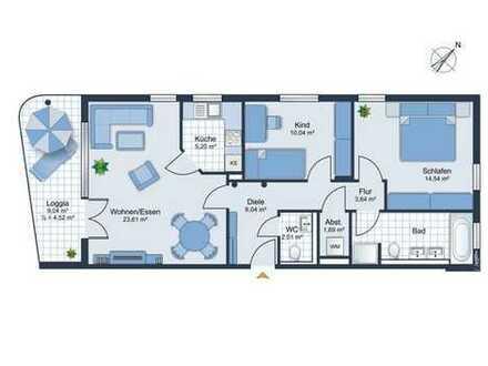 Schöne barrierefreie neuwertige 3-Zimmer-Wohnung + großen S/W-Loggia