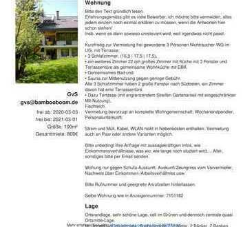 sofort UG-4-Zi.-WG-Wohnung im Grünen mit Saunamitbenutzung. An Studenten oder Wohngemeinschaft, ca.