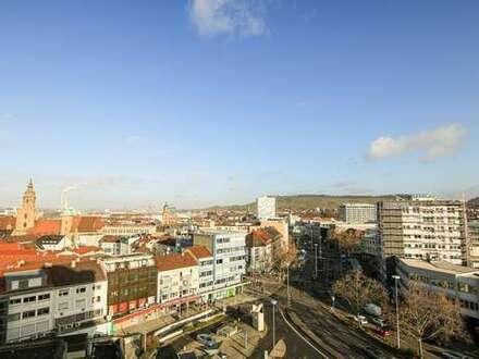 Arbeiten, zentral und über den Dächern Heilbronns
