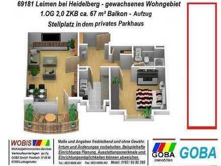Leimen 2019 - 2,0 ZKB Südwest-Balkon, ca. 67 m², Aufzug, Parkhaus-STP, mit EBK - ruhige Wohnlage