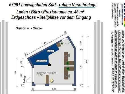 SOFORT FREI !!!!!!! oder später !!! Lu City-Süd 45 m² Laden-Büro-/Praxisräume
