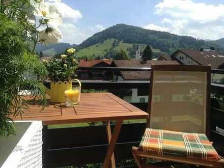 Zweitwohnsitz in Oberstaufen, möblierte 2-Zimmer-Whg zentrumsnah, ruhig, sonnig, Aussicht, Garage