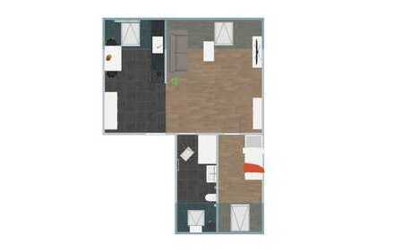 Neurenovierte möblierte 2-Zimmer-Dachgeschosswohnung