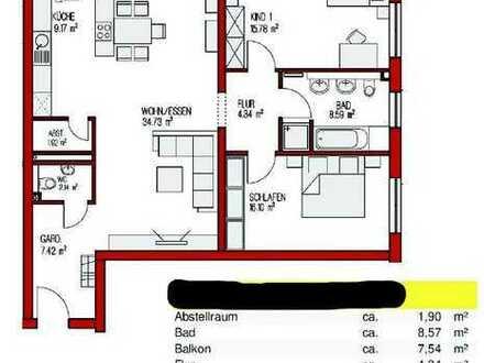 3 ZKB Erstbezug mit Küche und Balkon / Garage: 3-Zimmer-Erdgeschosswohnung in Kronau