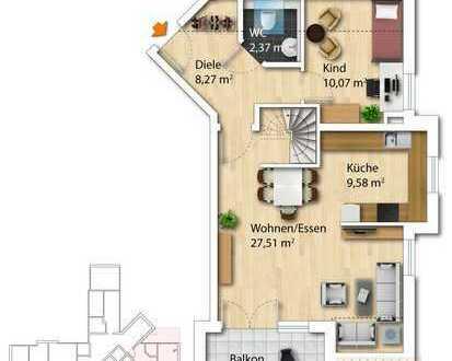 ruhige 4-Zimmerwohnung Dachgeschoss mit Dachspitz inkl. Tiefgaragenplätze