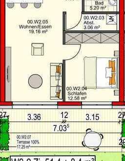Erstbezug! 2 Zi - Wohnung mit schöner Terrasse!