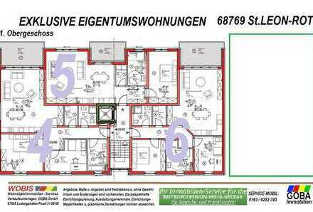 Modern Naturnah nahe SAP - barrierefrei 3,0 ZKB Balkon 97 m² Neubau-ETW KfW55 Effizienz