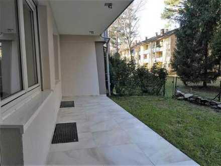 Frisch sanierte, bezugsfreie 3-ETW mit schöner Gartenterrasse und neuer EBK, KA-Waldstadt