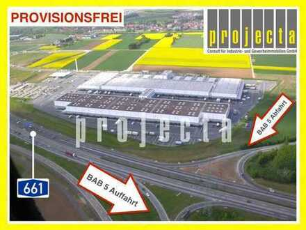 PROVISIONSFREI ca. 3.100m² Hallen-/Lagerfläche 10m UKB 9 Rampentore direkt an der A661 z. vermieten
