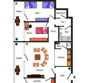 Gepflegte 4-Zimmerwohnung mit 2 großen Balkonen!