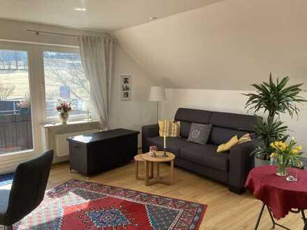 Exklusive, vollständig renovierte, möblierte 2-Zimmer-DG-Wohnung mit Balkon und EBK in Bischofsgrün