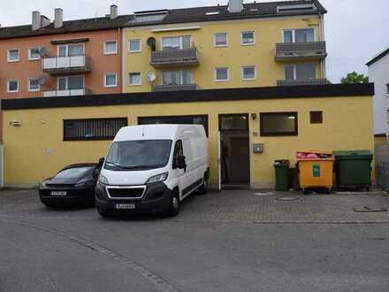 37 m² Büro (2 Räume + Duschbad) + 3 Stellplätze + 65 m² EG-Lager + 84 m² KG-Lager mit Lastenaufzug