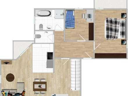 Teilsanierte 4-Zimmer-DG-Wohnung mit Balkon und Einbauküche