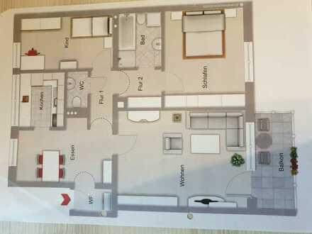 Vollständig renovierte 3,5-Raum-Wohnung mit Balkon und Einbauküche in Weiden