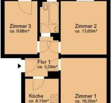 Gemütliche kleine 3-Zi-Wohnung für kleine Familien oder als WG - Nachmieter gesucht - Einbauküche
