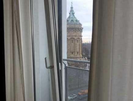 Möblierte, gepflegte 1-Zimmer-Wohnung mit Balkon und EBK in Mannheim mit Blick auf Wasserturm
