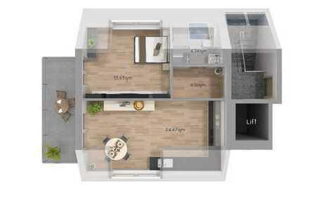 Lichtdurchflutete 2,5-Zimmer Wohnung mit Sicht auf den eigenen Garten
