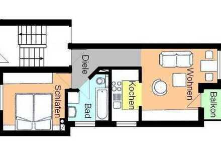 Zentrale 2-Zimmer-Hochparterre-Wohnung mit Balkon und EBK in Ettlingen