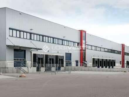 Großflächiger projektierter Neubau einer Logistikhalle an der A10 bei Berlin