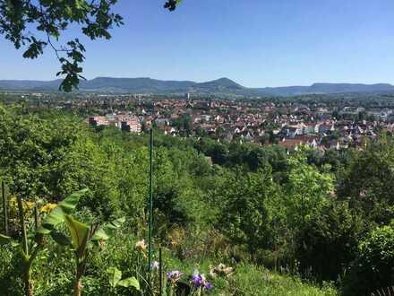 Exponierte Südhanglage, in Kirchheim/ Teck. Wochenendgrundstück mit Wochenendhaus. Teilerschlossen,