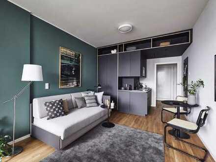 Voll möbliert: Lichtdurchflutetes Studio-Apartment mit Balkon in Top Lage