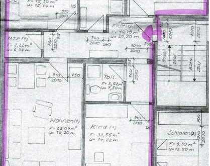 Renovierte großzügige 3- Zimmer- Wohnung mit 86,30 m², neues Wannenbad mit Dusche
